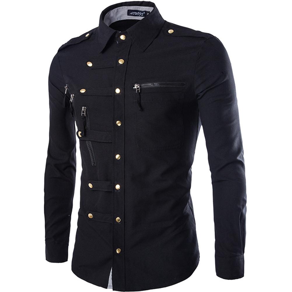 Men Spring And Autumn Retro Simple Fashion Long Sleeve Shirt Tops Navy_XXL