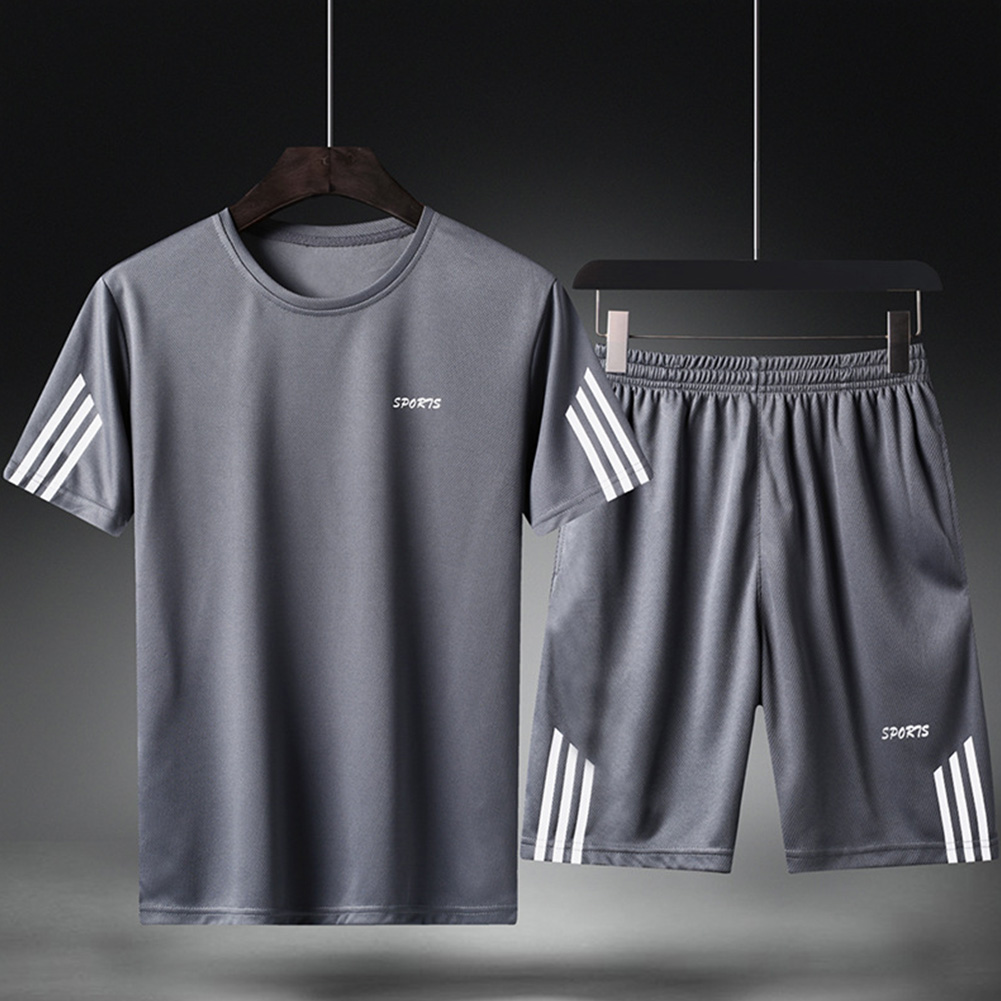 Male Sports Wear Quick Dry Casual Training Suits for Man Basketball Football Jogging gray_L