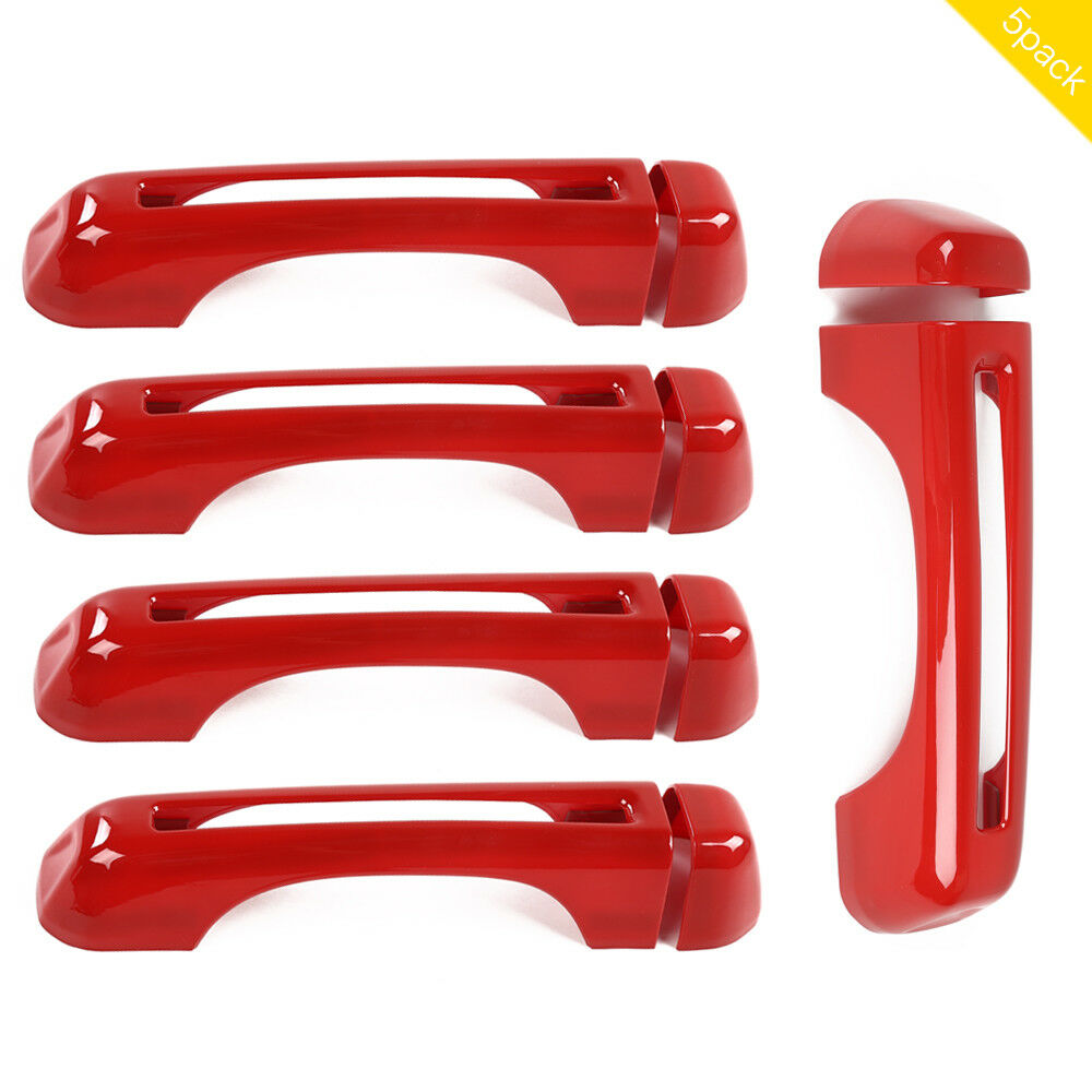 5 Pcs/set Door/tail Door  Outer  Handle  Cover Trim Decor B Type For Wrangler Jl [18 Years+] Red