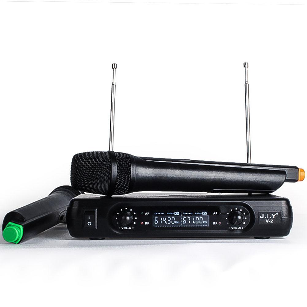 Professional Karaoke Wireless Microphone Mixer Audio Radio Kits Handheld LCD Microphone black_EU plug