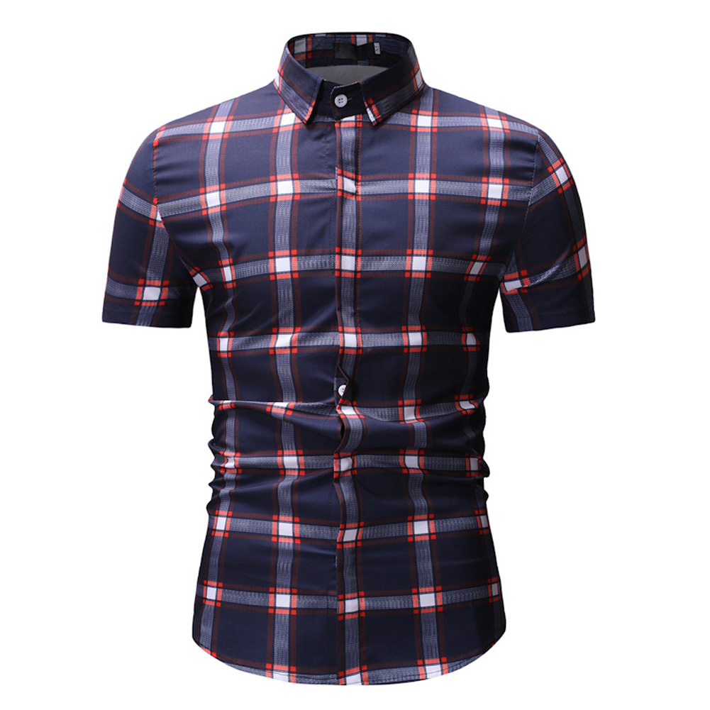 Male Plaid Printed Leisure Shirt of Short Sleeves and Turn-down Top Cardigan Slim Costume Red lattice_M