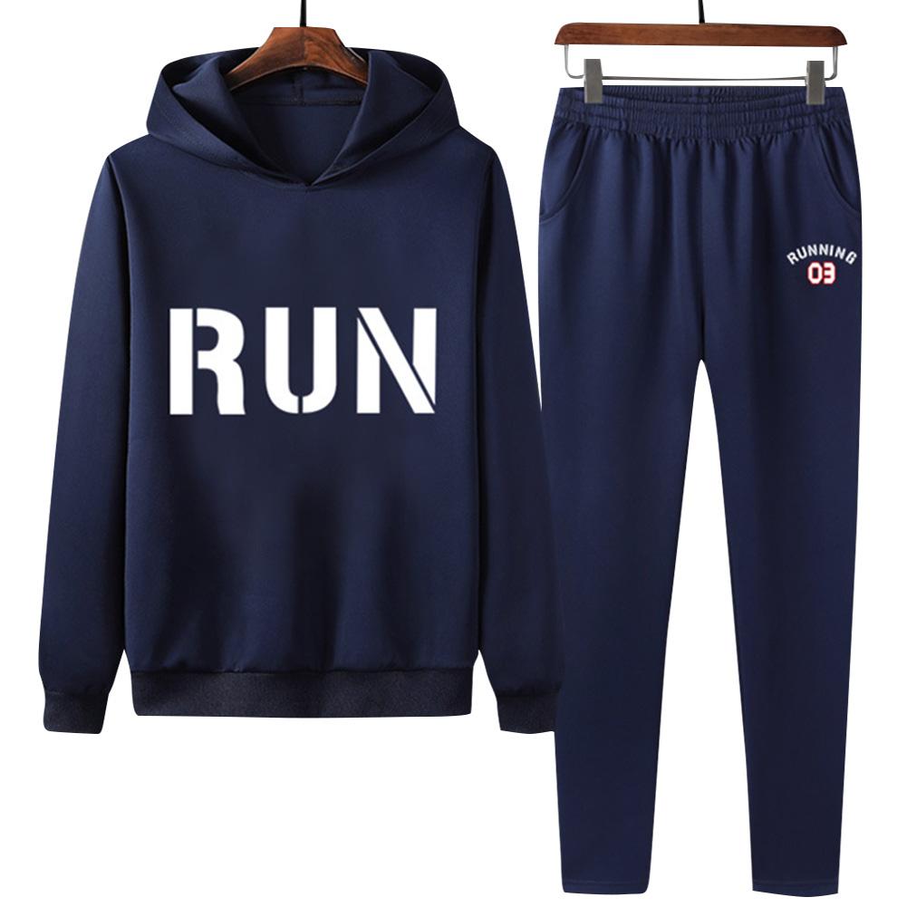 2Pcs/set Men Hoodie Sweatshirt Sports Pants Printing RUN Casual Sportswear Student Tracksuit Navy blue_L