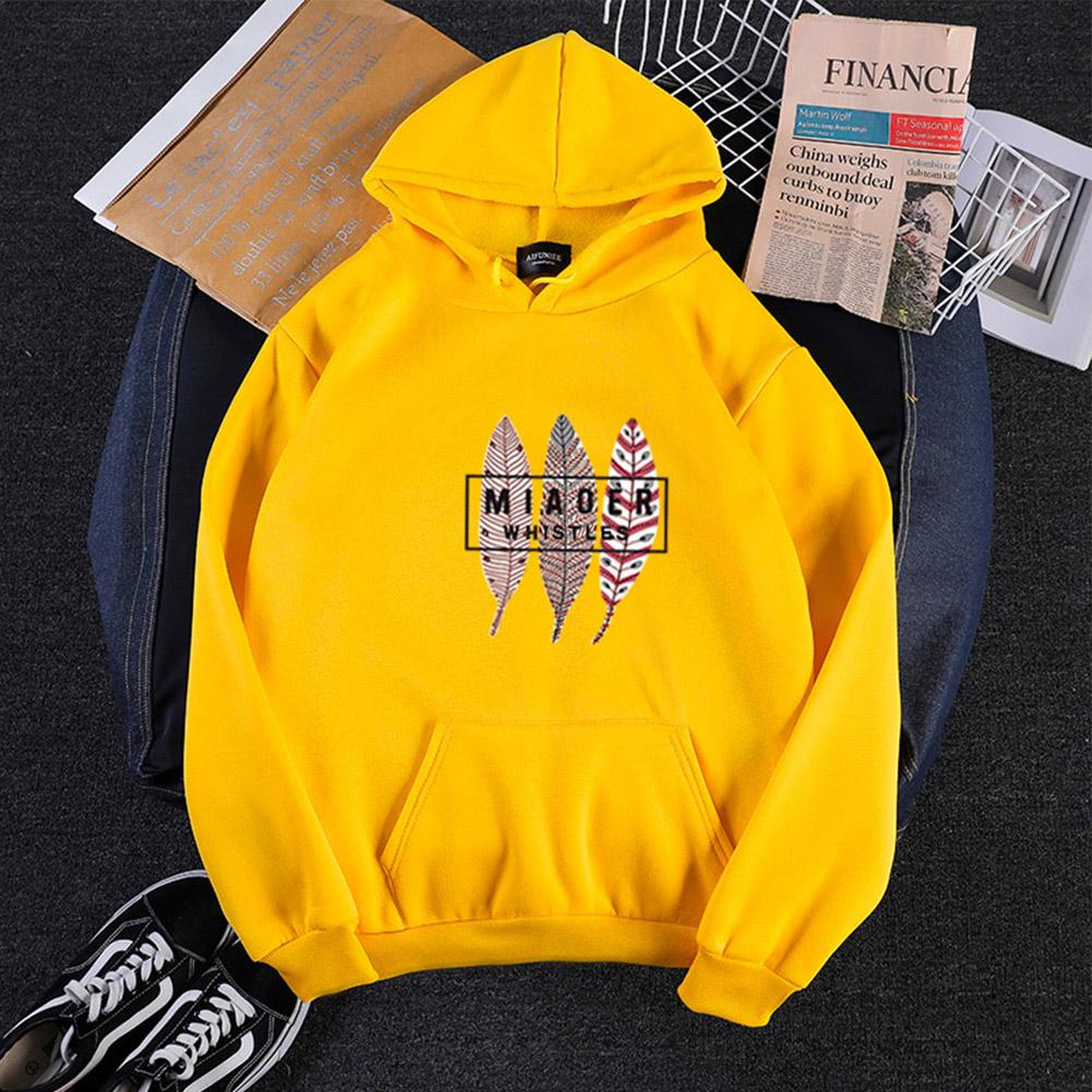Men Women Hoodies Oversize Sweatshirt Loose Thicken Velvet Autumn Winter Pullover Yellow_M