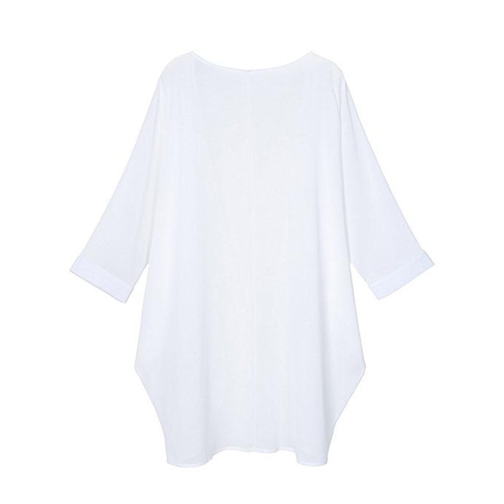 Women Chiffon Pure Color Sunshine-proof Summer Fashion Loose Tops white_M