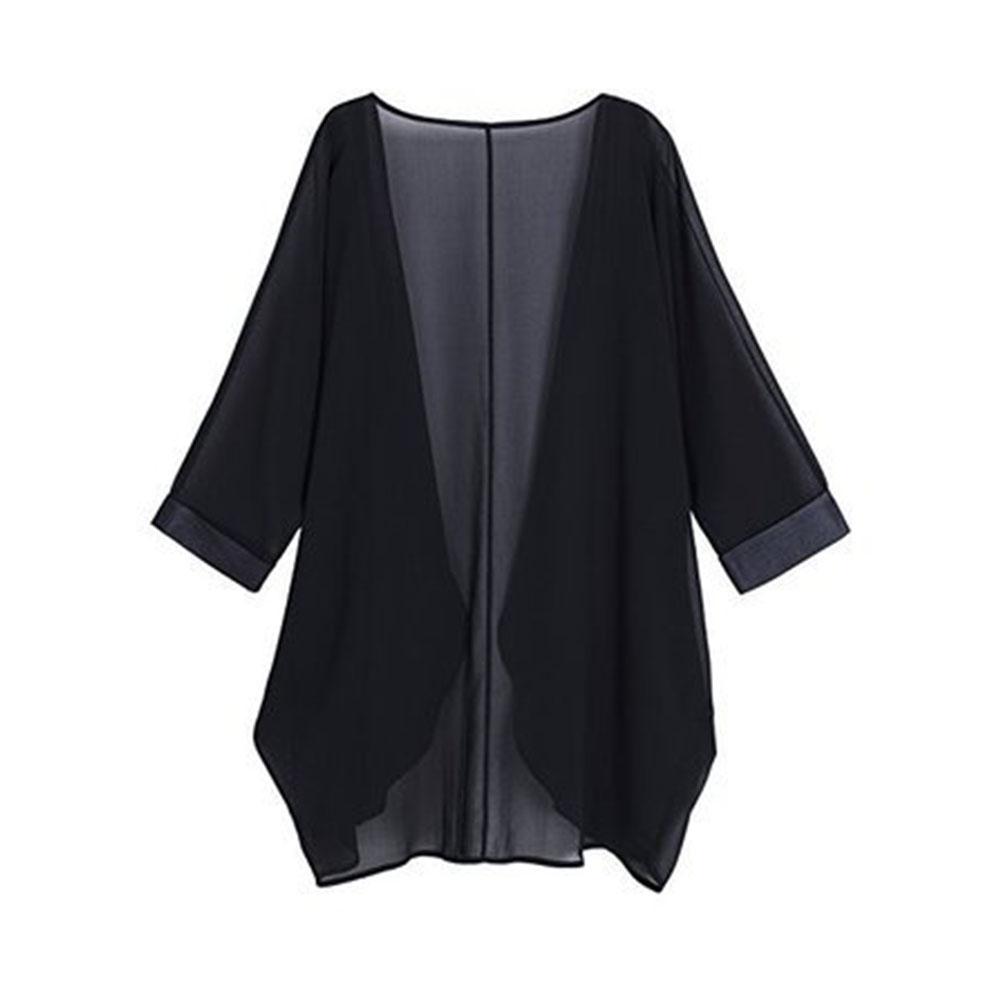 Women Chiffon Pure Color Sunshine-proof Summer Fashion Loose Tops black_S