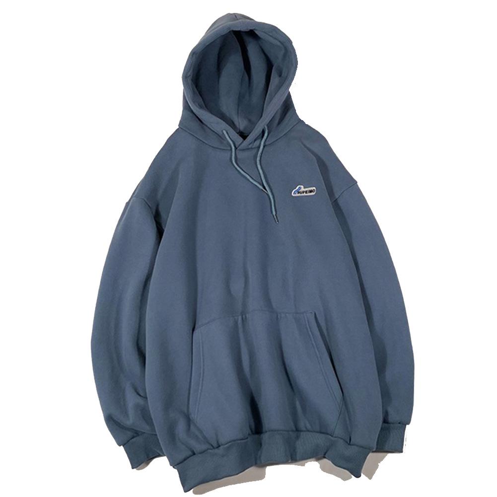 Men Women Hoodie Sweatshirt Letter Solid Color Loose Fashion Pullover Tops Blue_L