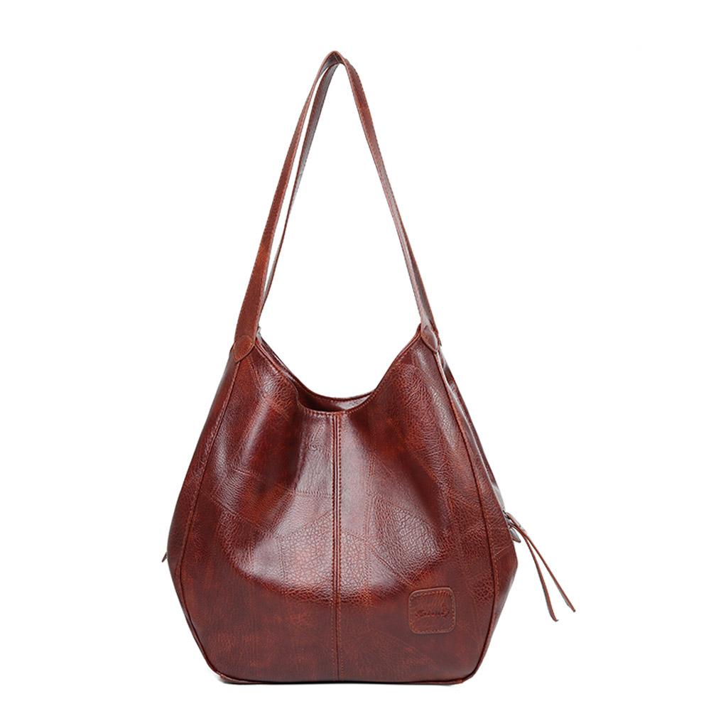 Women's Shoulder Pack Retro Style PU Waterproof All-match Handbag Brown-1