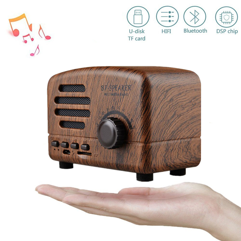 Retro Portable Mini Bluetooth Speaker Wireless Speakers Super Bass Music Loudspeakers Support TF Card FM Radio Wood grain