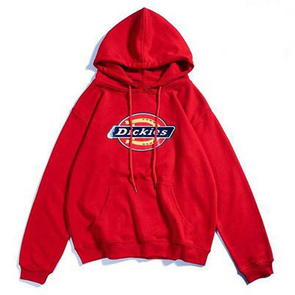Men Women Hoodie Sweatshirt Thicken Velvet Dickies Loose Autumn Winter Pullover Tops Red_L