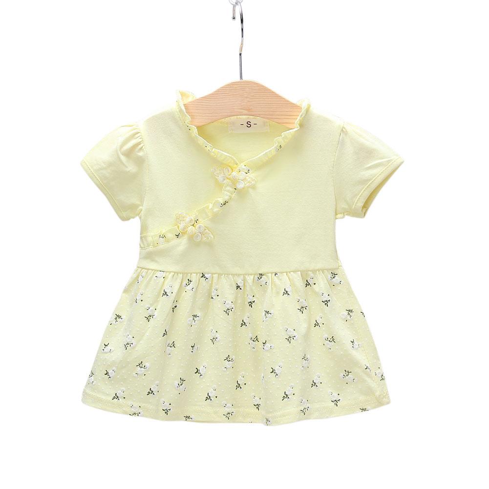 Kids Girls Dress Cotton Short Sleeve Printed Dress for Infants  yellow_XL