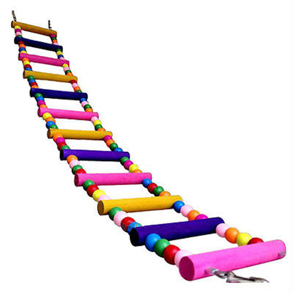 Colourful Pet Climbing Ladder Biting Wood Brick Toys with Hanging Rope for Bird Parrot Supplies 59cm