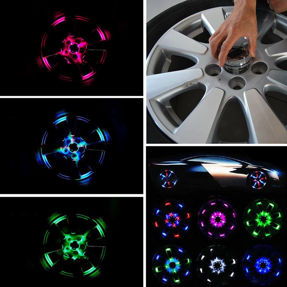 Fashion Attractive 4 Modes 12 LEDs Car Auto Solar Power Saving Flash Wheel Light Decor as shown