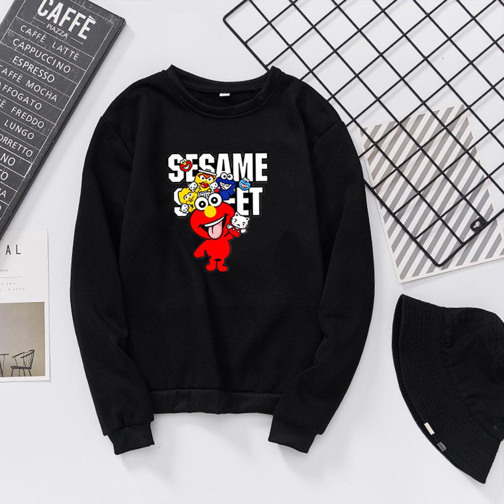 Men Women Cartoon Printing Round Neck Pullover Fleece Sweatshirts black_S