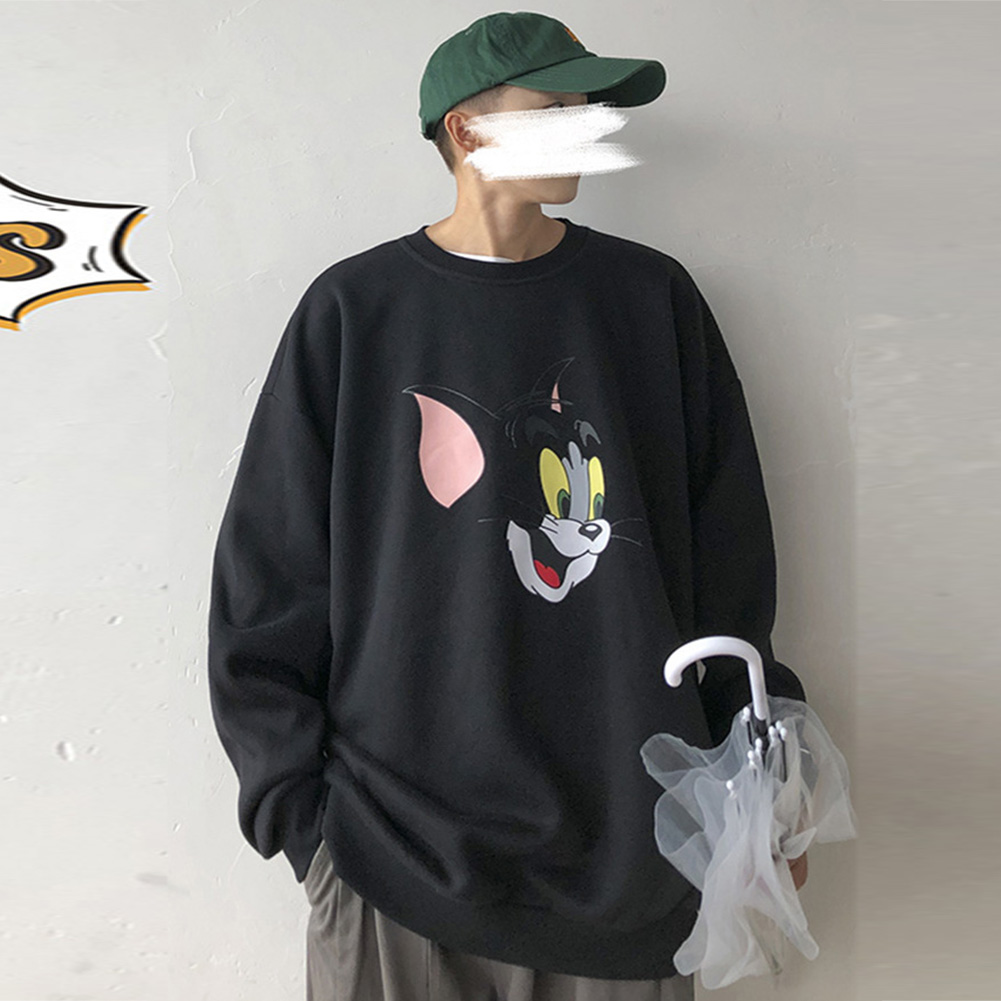 Men Women Cartoon Sweatshirt Tom and Jerry Crew Neck Printing Loose Pullover Tops Black_M