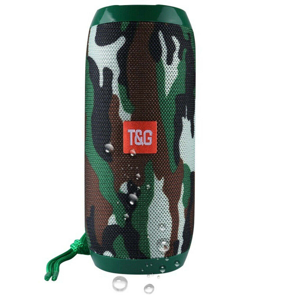 Loud Bluetooth Speaker Wireless Waterproof Outdoor Stereo Bass USB/TF/FM Radio Camouflage