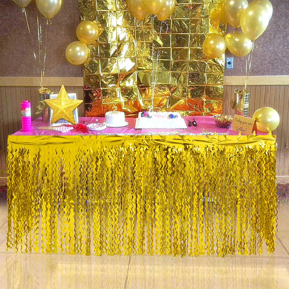 Spiral Tassel Table Skirt for Wedding Birthday Party Decoration Gold_275CMX high 75CM