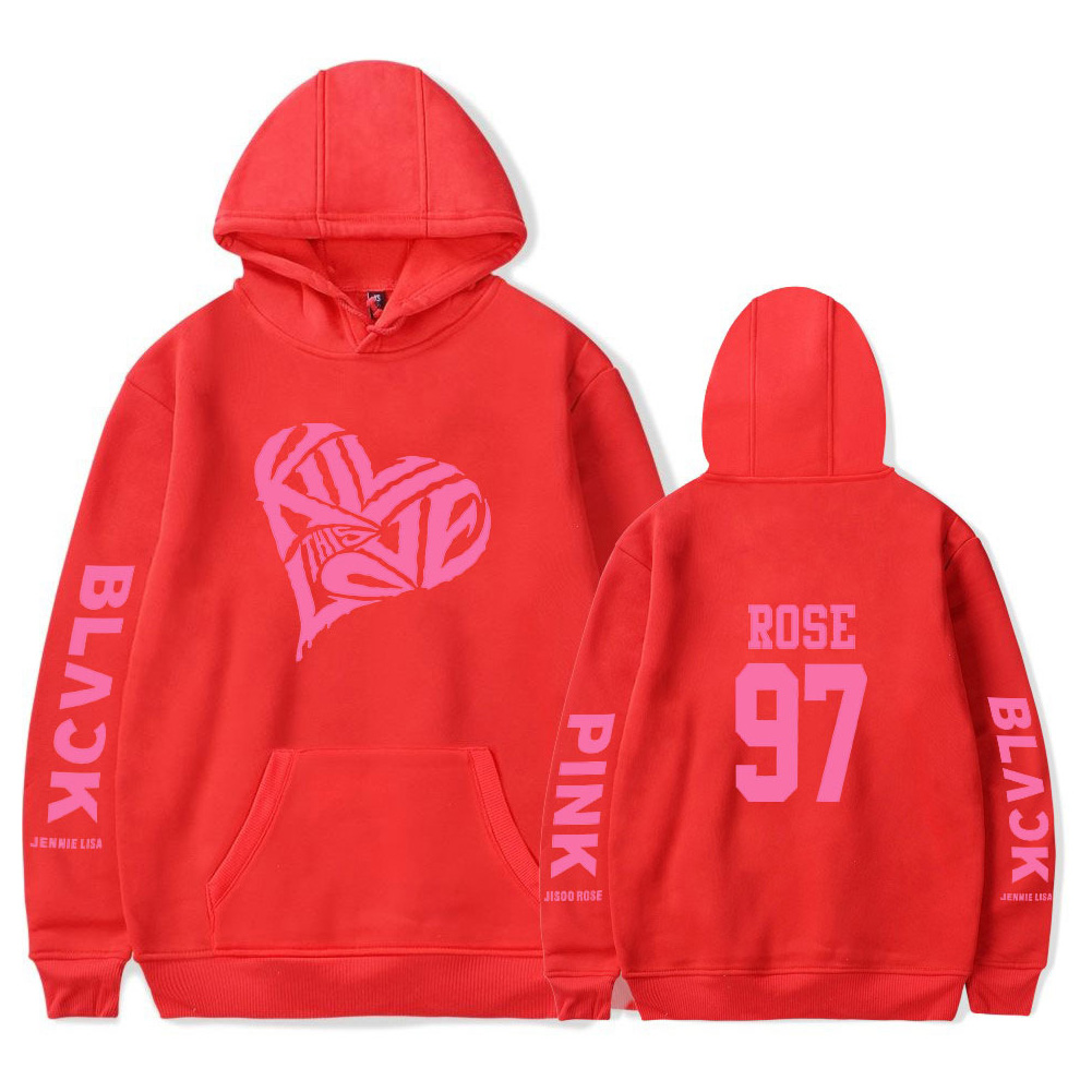 BLACKPINK 2D Pattern Printed Hoodie Leisure Pullover Top for Man and Woman Red 5_XXL