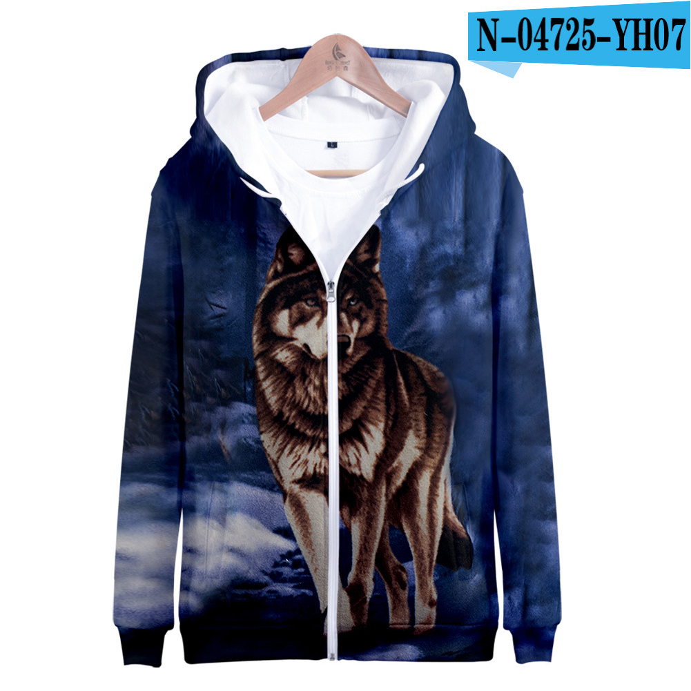 Men Women Unisex Fashion Painting 3D Hoodies Animal Wolf Print Casual Hooded Sweatshirt N-04725-YH07 Type Q_XL