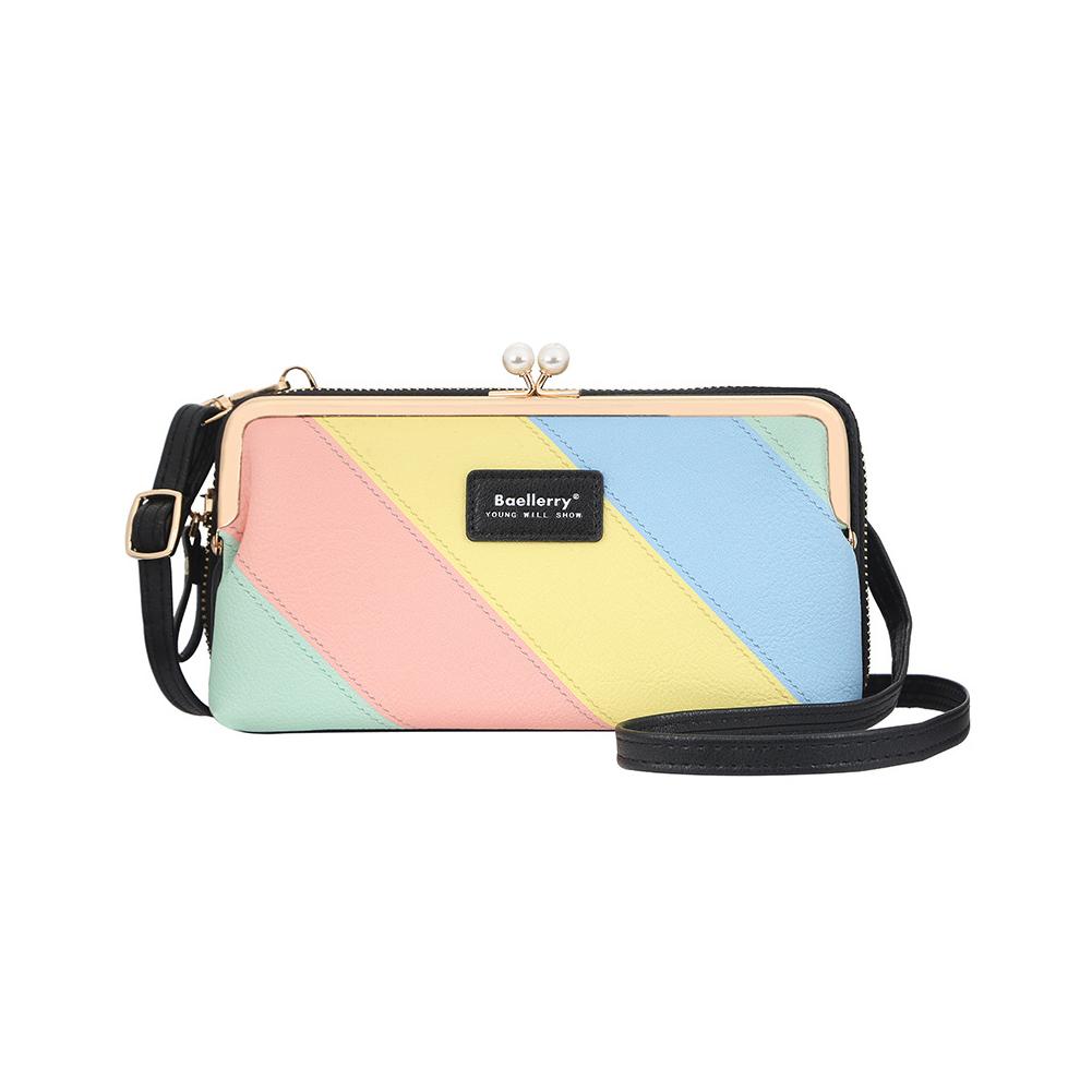 Women Satchel Shoulder Messenger Bag Multifunction Zipper Phone PU Purse black