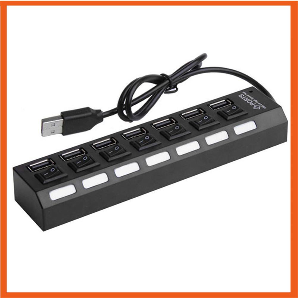 Usb 7 Port Independent Switch With Light Hub With Line Splitter Hub Extender