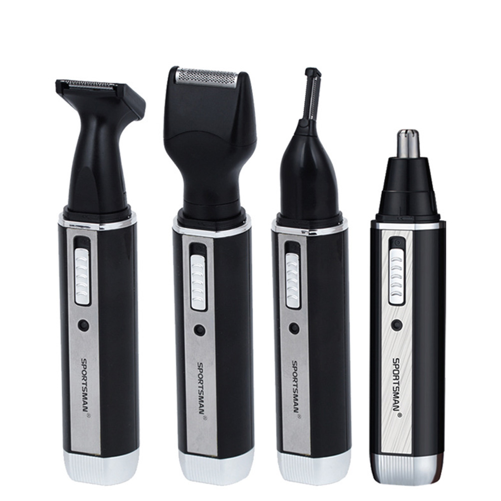 4 in 1 Nose Ear Hair Trimmer Professional Electric Rechargeable Earlock Shaver Personal Care Tools For Men Black four in one_European round insert