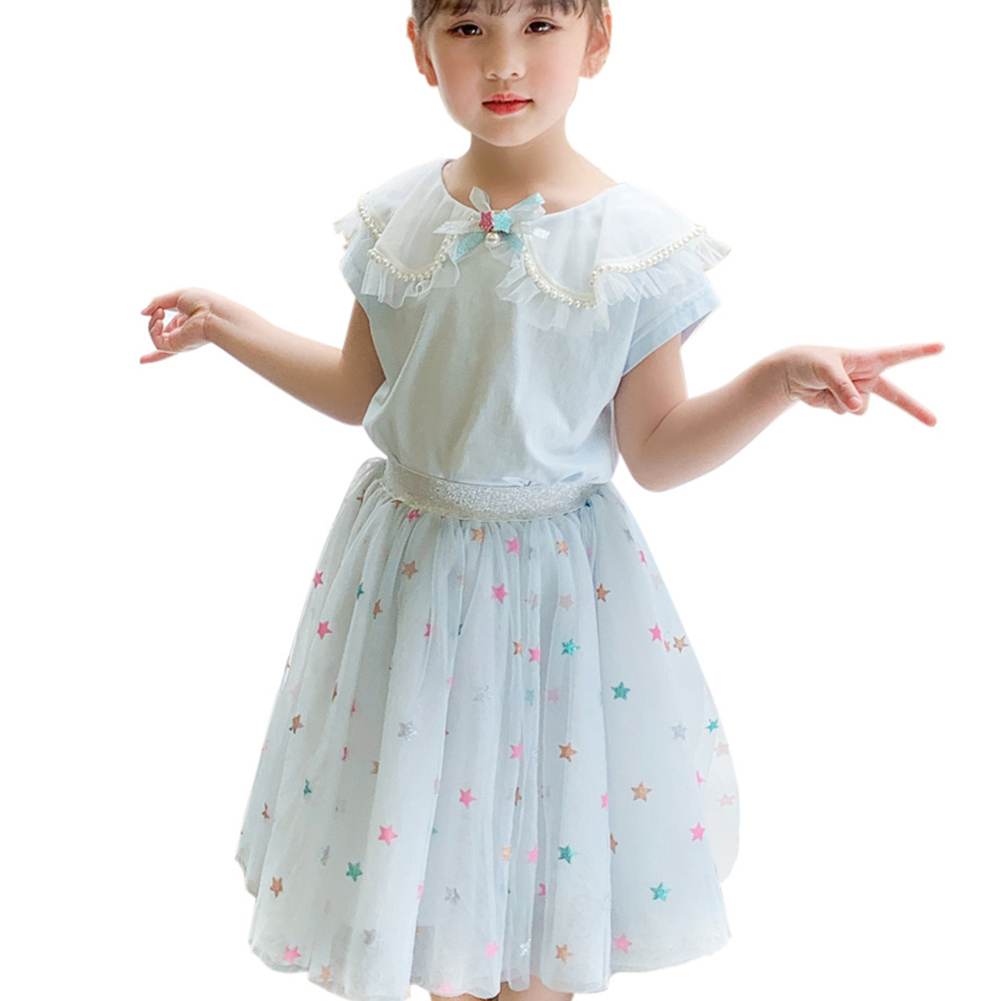 2 Pcs/set Girls Suit Lapel Short-sleeve Top + Star Mesh Skirt for 3-8 Years Old Girls Light blue_130cm