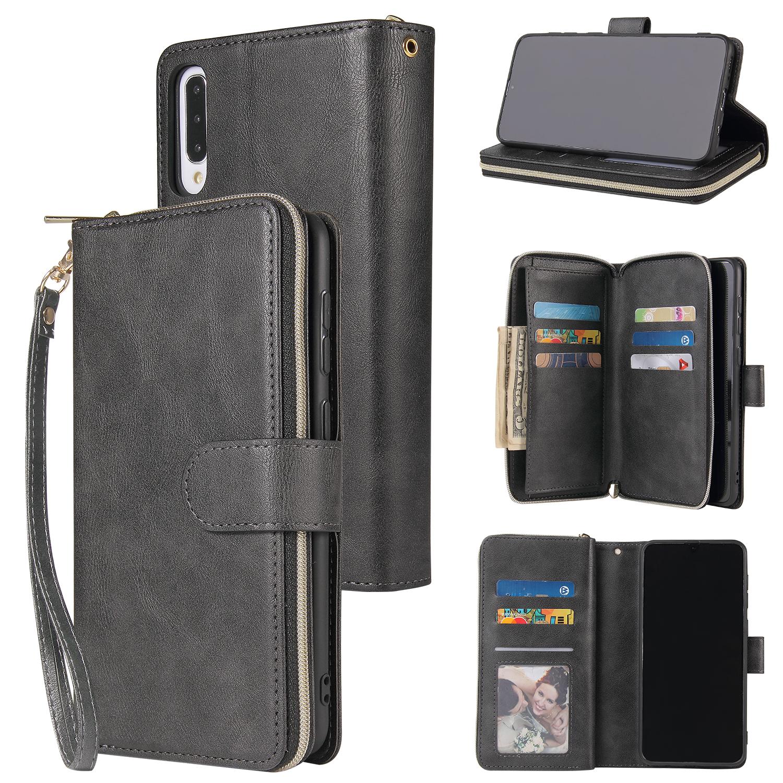For Samsung A10/A20/A30/A50/A30S/A50S Pu Leather  Mobile Phone Cover Zipper Card Bag + Wrist Strap black