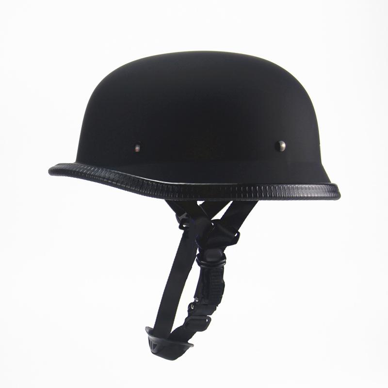 Unisex Motorcycle Half Helmet Chopper Biker Pilot Goggles Open Face Moto Helmet  Matte black_One size (suitable for head circumference 56-61CM)