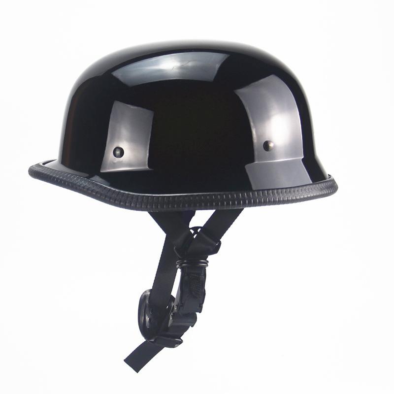 Unisex Motorcycle Half Helmet Chopper Biker Pilot Goggles Open Face Moto Helmet  Bright black_One size (suitable for head circumference 56-61CM)