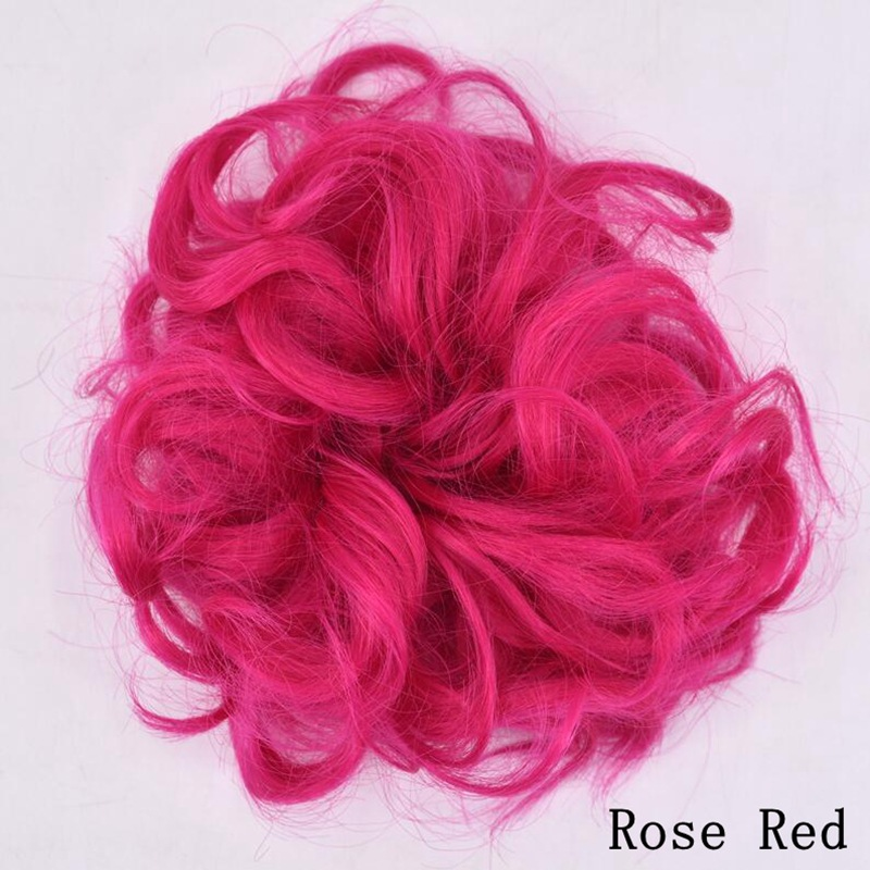 Women Fashion Synthetic Hair Tail Hair Extension Bun Hairpiece Wave Curly Scrunchie
