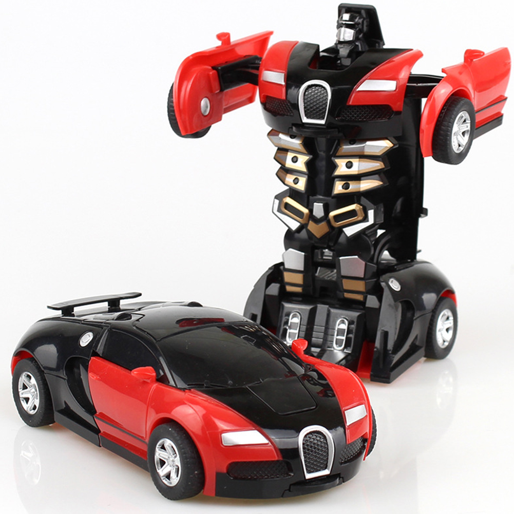 [Indonesia Direct] Rescue Bots Deformation Transformer Car One-Step Car Robot Vehicle Model Action Figures Toy Transform Car for Kids red