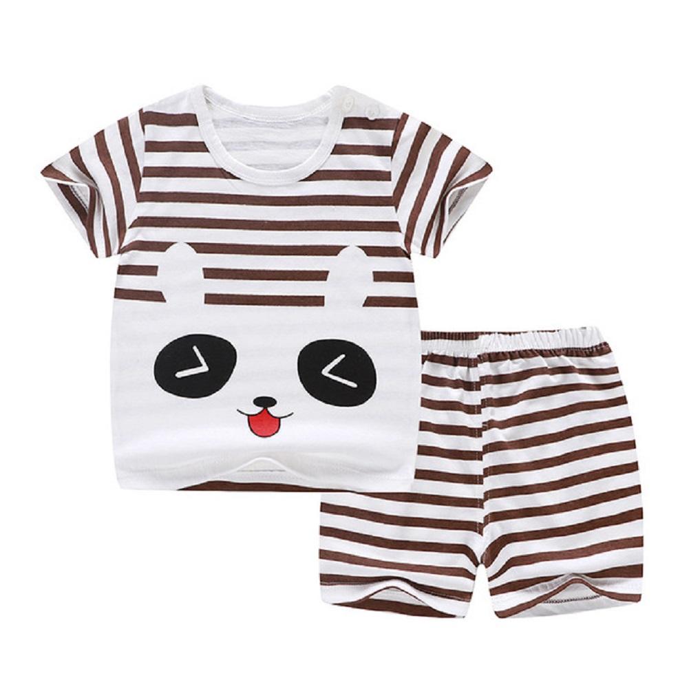 [Indonesia Direct] 2pcs/set Kids Girls Boys Summer Soft Cotton Breathable Cartoon Printing T-shirt + Shorts Suit coffee bears_73cm