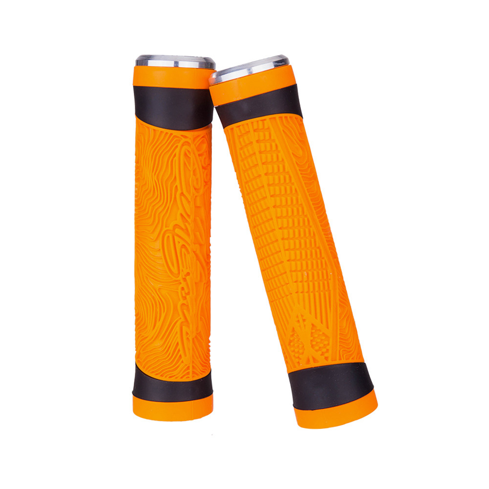 Bicycle Silicone Grip Cover Double Pass Comfortable Shock Absorbing Orange
