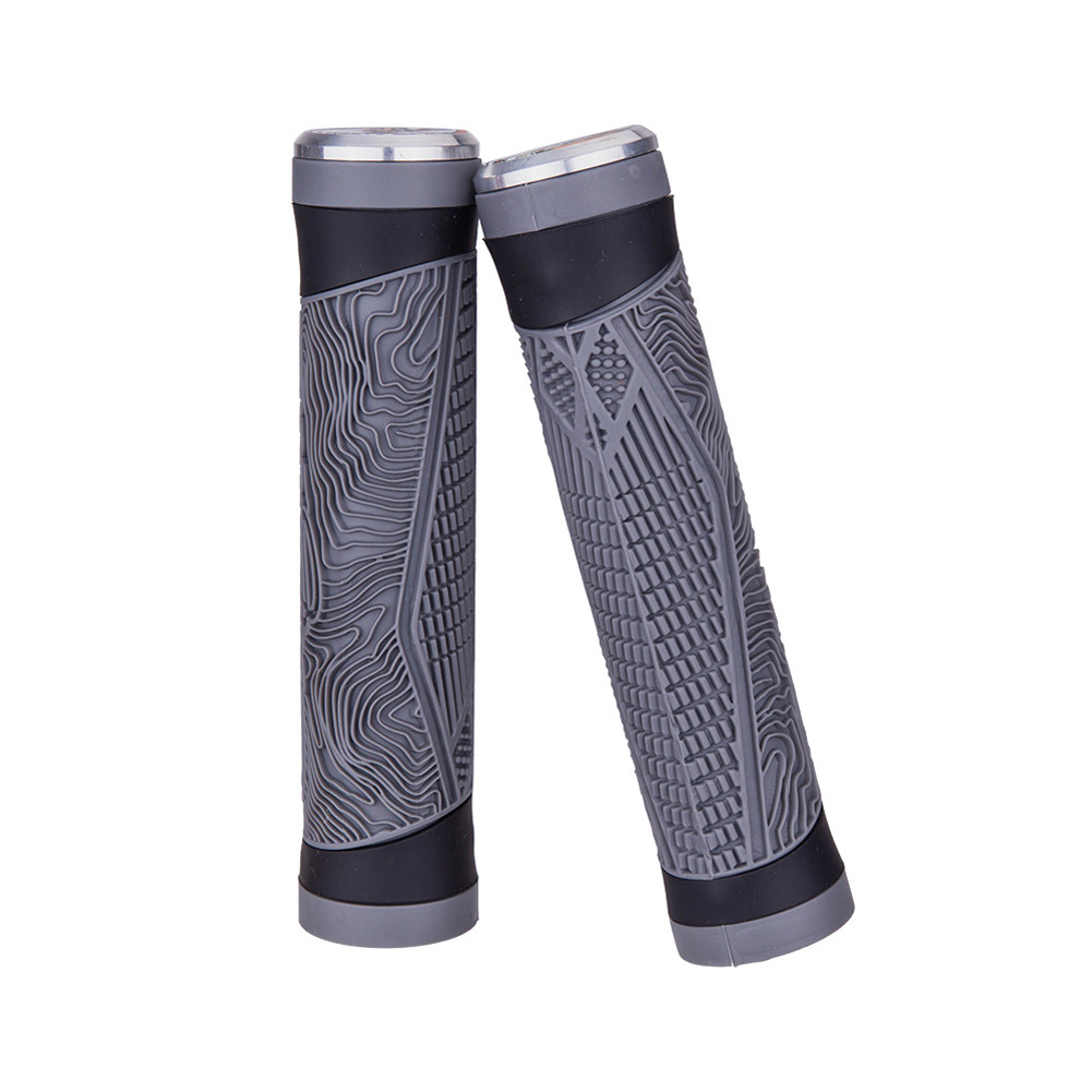 Bicycle Silicone Grip Cover Double Pass Comfortable Shock Absorbing gray