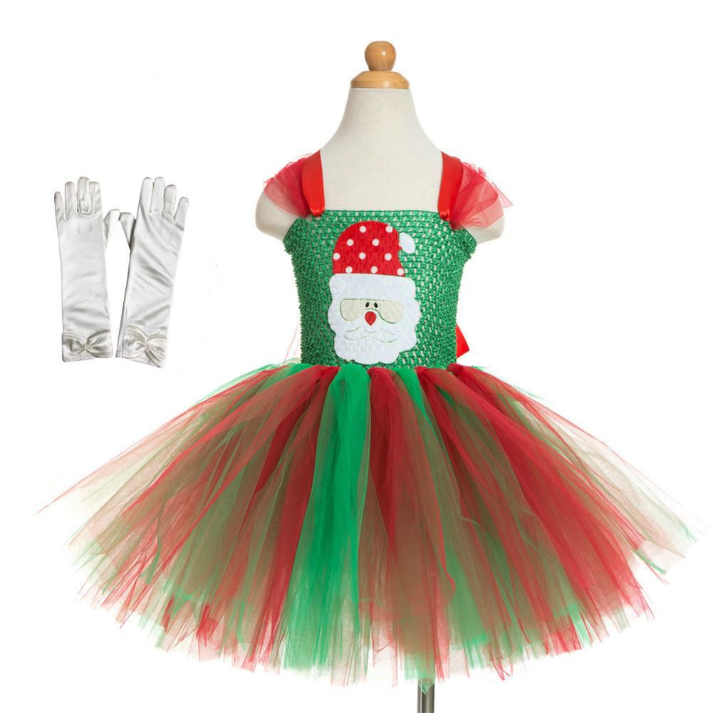 Girls Dress Christmas Cartoon Skirt + Gloves for 4-9 Years Old Kids 5022
