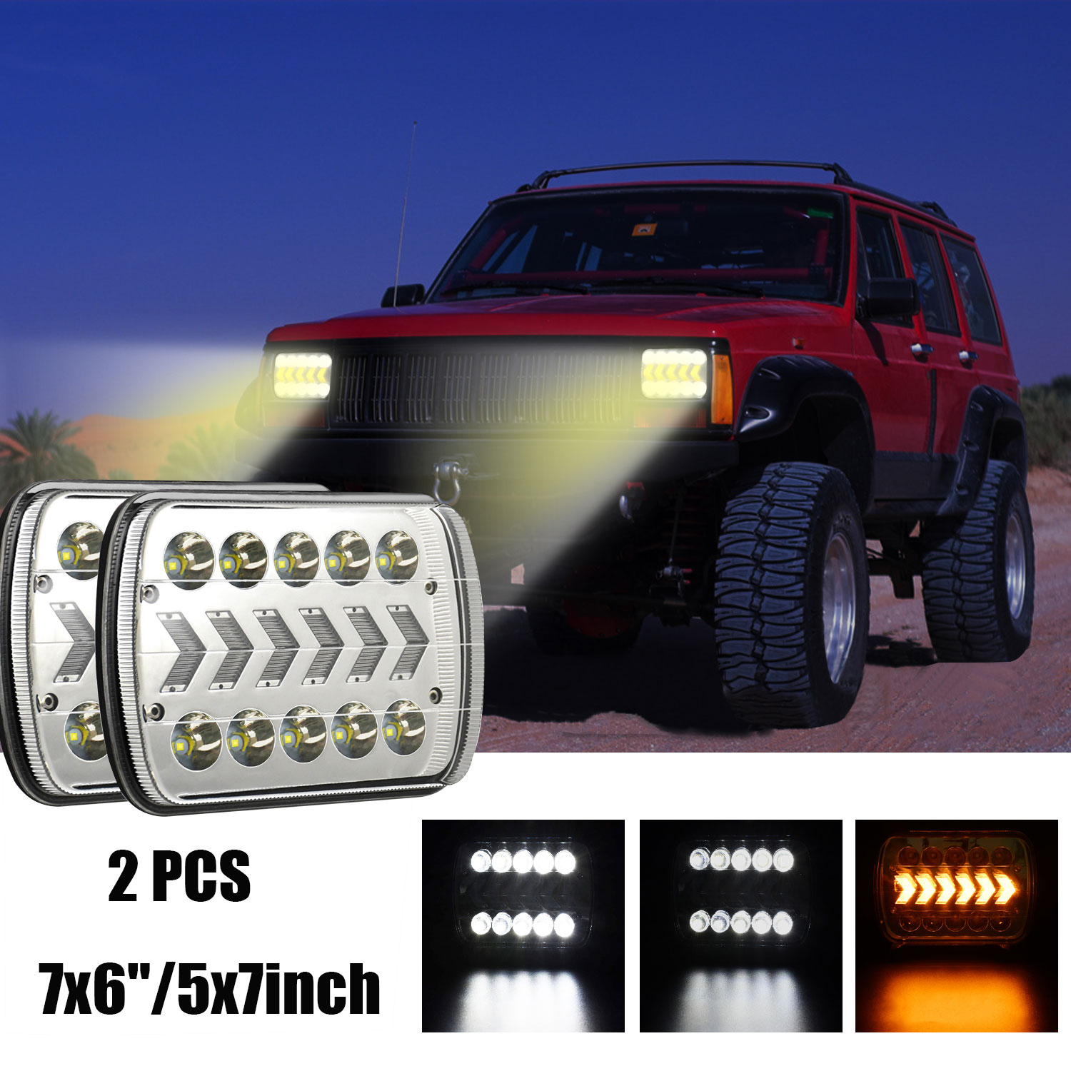 1 Pair Aluminum 7-inch 7x6 5x7 Truck Square Lights With Dynamic Sequential Turn Signal With H4 to 3 pin line