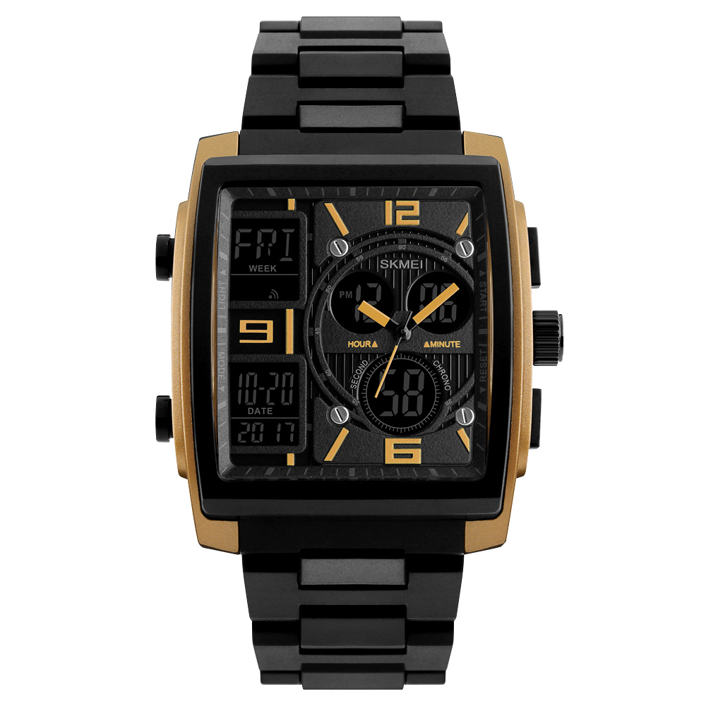 1274 Men's Wrist Watch Multi-function Outdoor Sports Digital Watch Golden