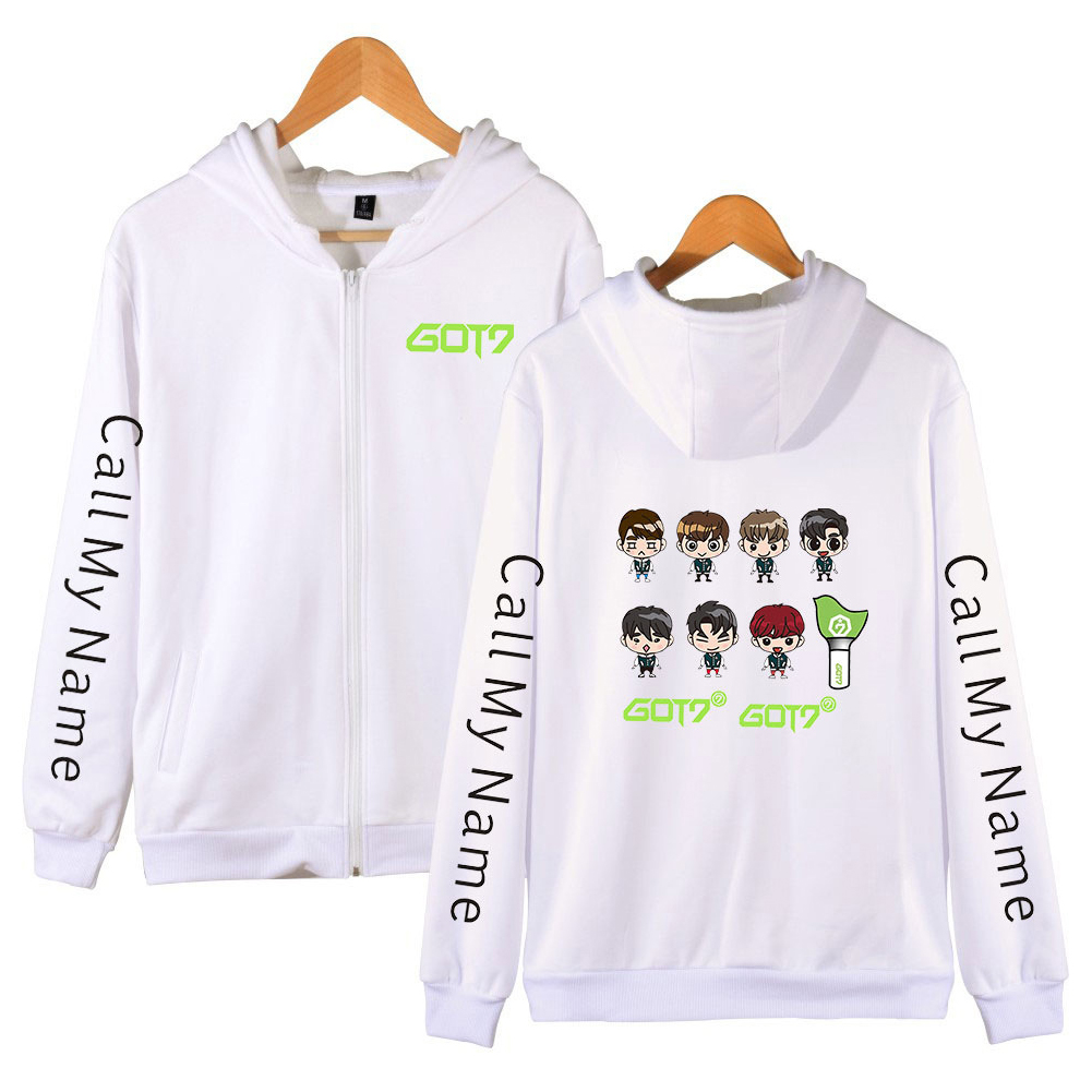 Men Women Printed Casual Loose Zip Up Hooded Sweater Tops White A_L