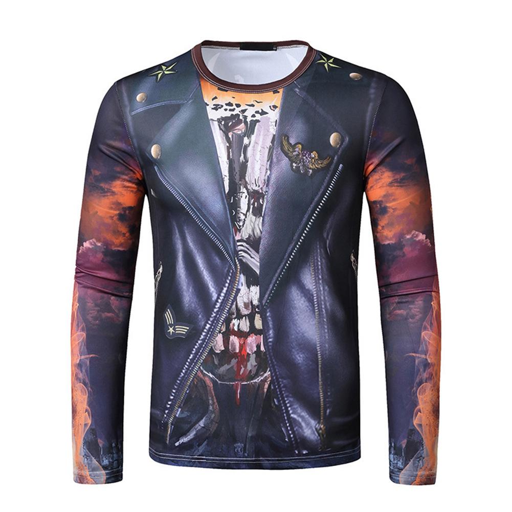 Men Long-sleeved Shirt 3D Digital Printing Halloween Series Horror Theme Long Sleeved Round Neck Shirt Black _L