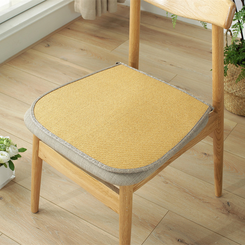 Ice Silk Dining Chair Cushion Cool Spring Summer Vine Seat Pad with Straps 40*45cm gold_40 * 45cm