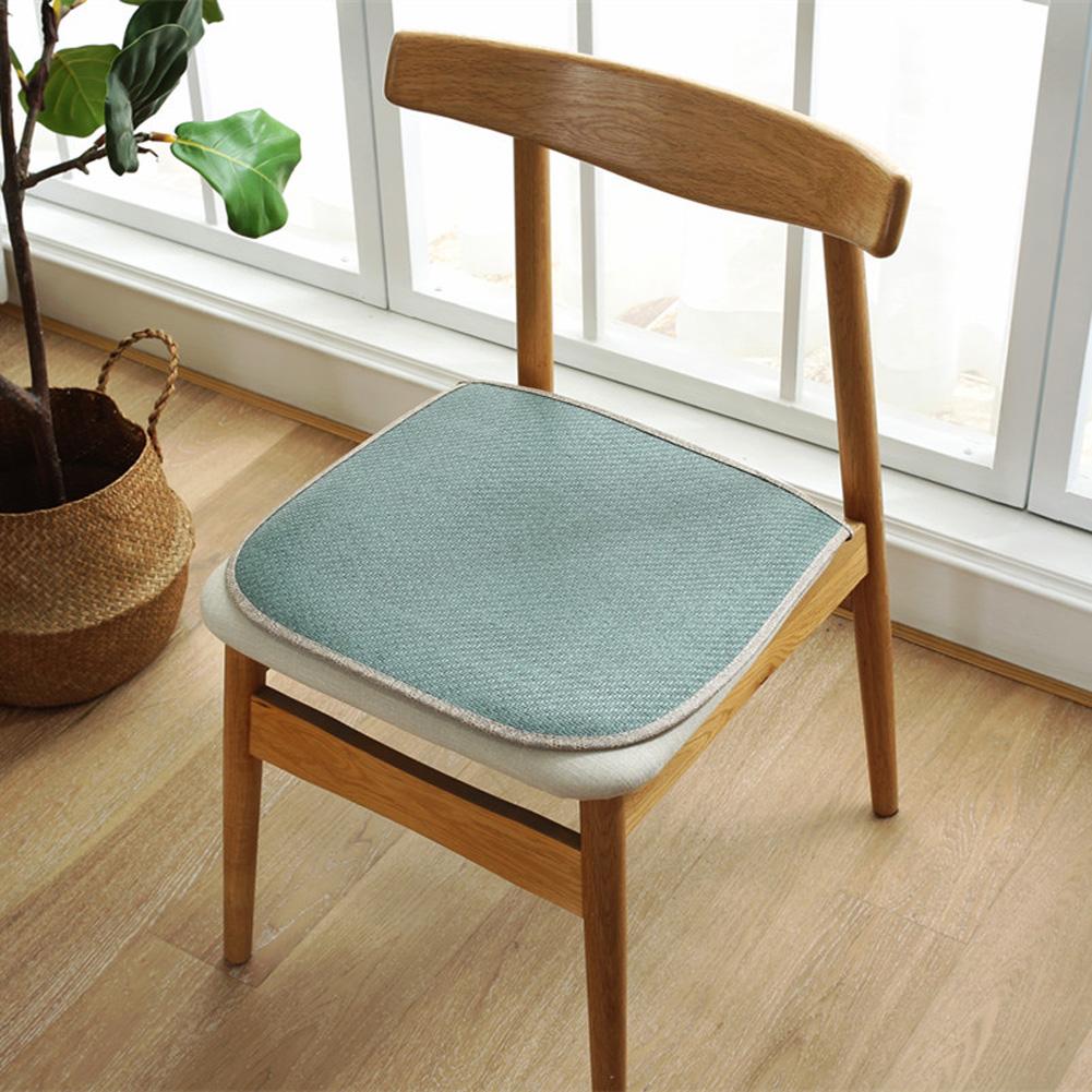 Ice Silk Dining Chair Cushion Cool Spring Summer Vine Seat Pad with Straps 40*45cm Dark green_40 * 45cm
