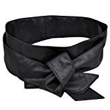[EU Direct] Women PU Leather Soft Self Tie Bowknot Band Wrap Around Sash Obi Belt Black
