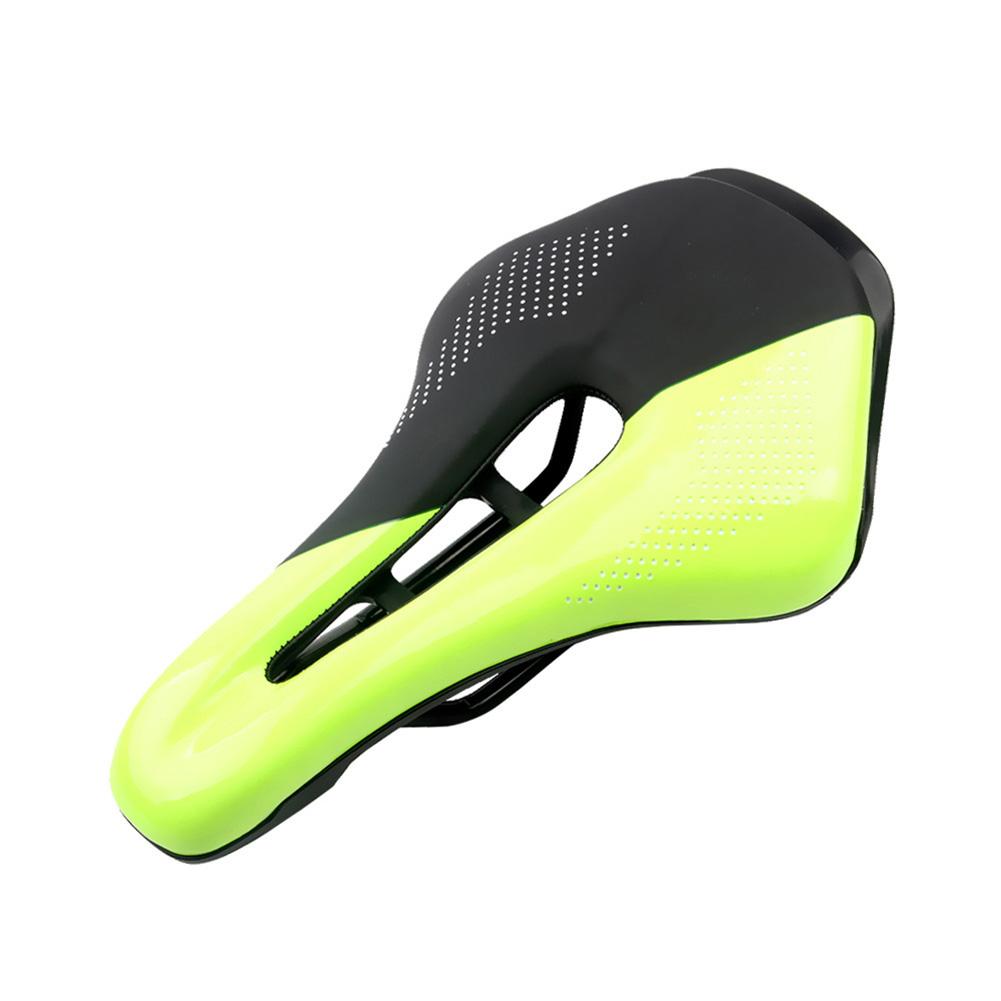 Bicycle Cushion Mountain Bike Road Bike Seat Hollow Breathable Comfortable Saddle  Black + yellow_24*14.8*4.5