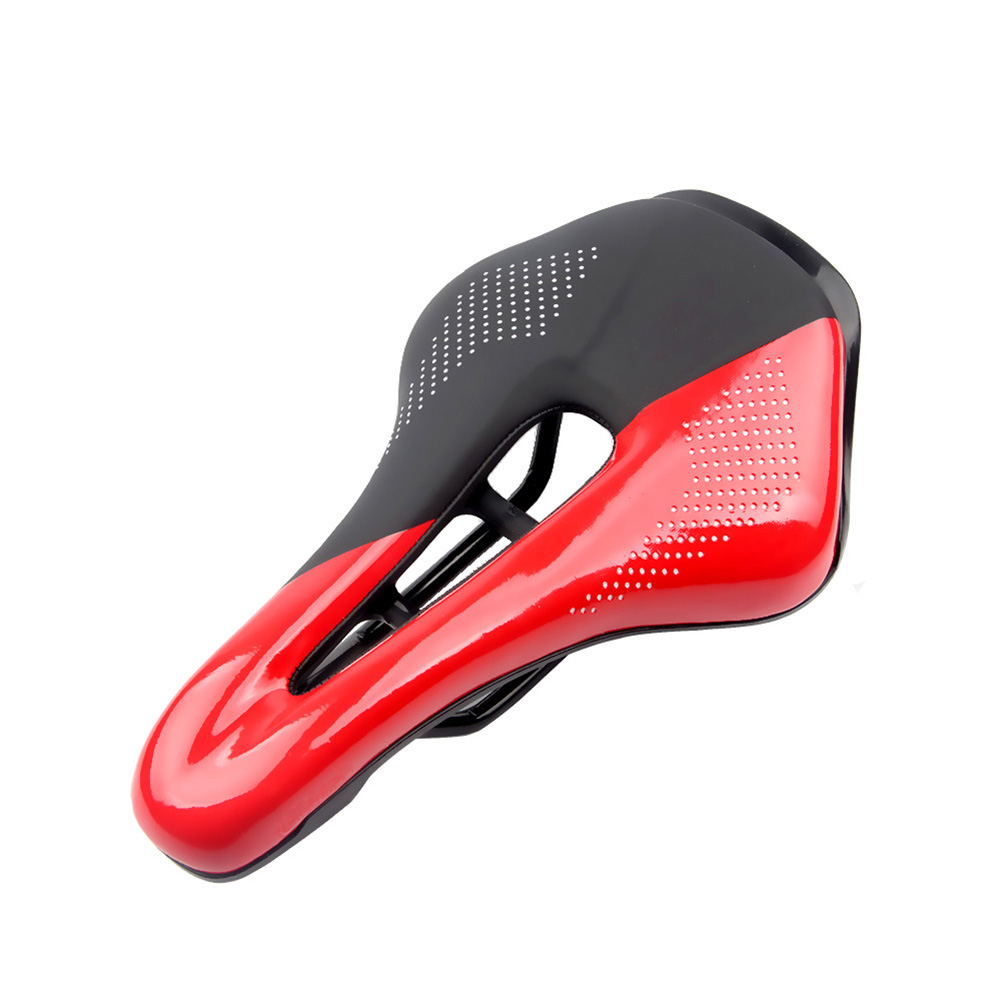 Bicycle Cushion Mountain Bike Road Bike Seat Hollow Breathable Comfortable Saddle  Black + red_24*14.8*4.5