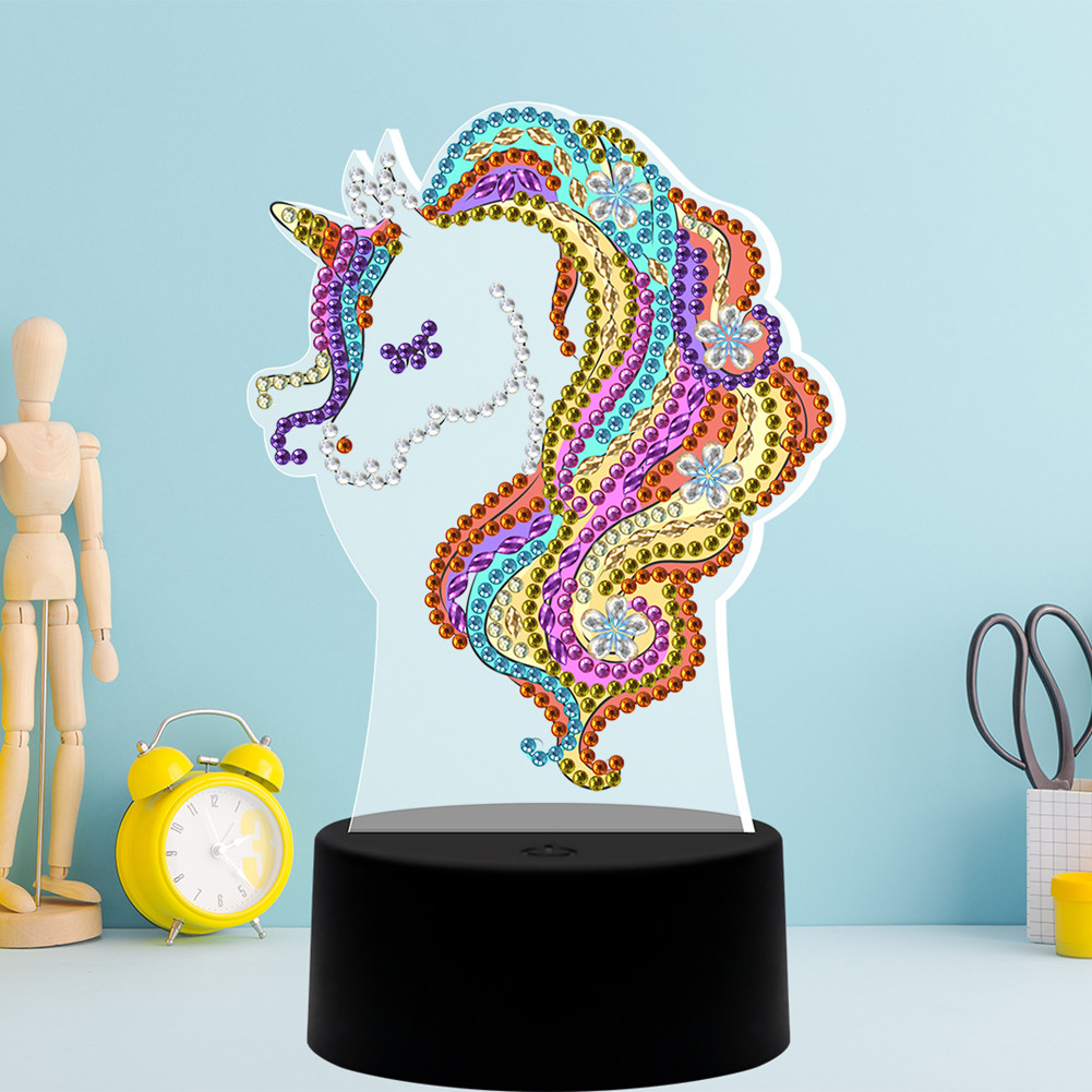 DIY Diamond Painting LED Night Light Cartoon Horse 3D Embroidery Colorful Lamp Home Decoration As shown