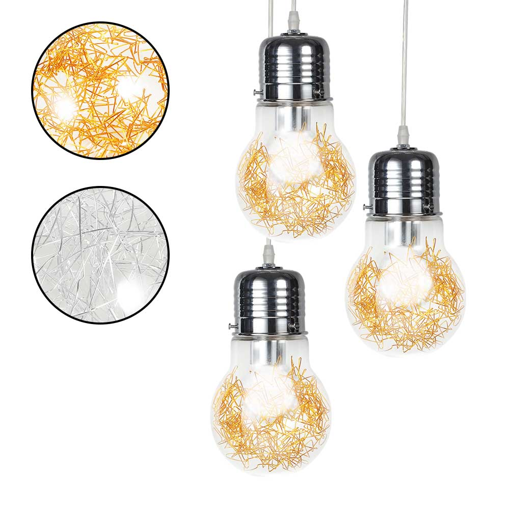 [EU Direct] Creative Pendant Lights Vintage Glass Big LED Bulb Chandelier Bar Warehouse Ceiling Lamp S Golden