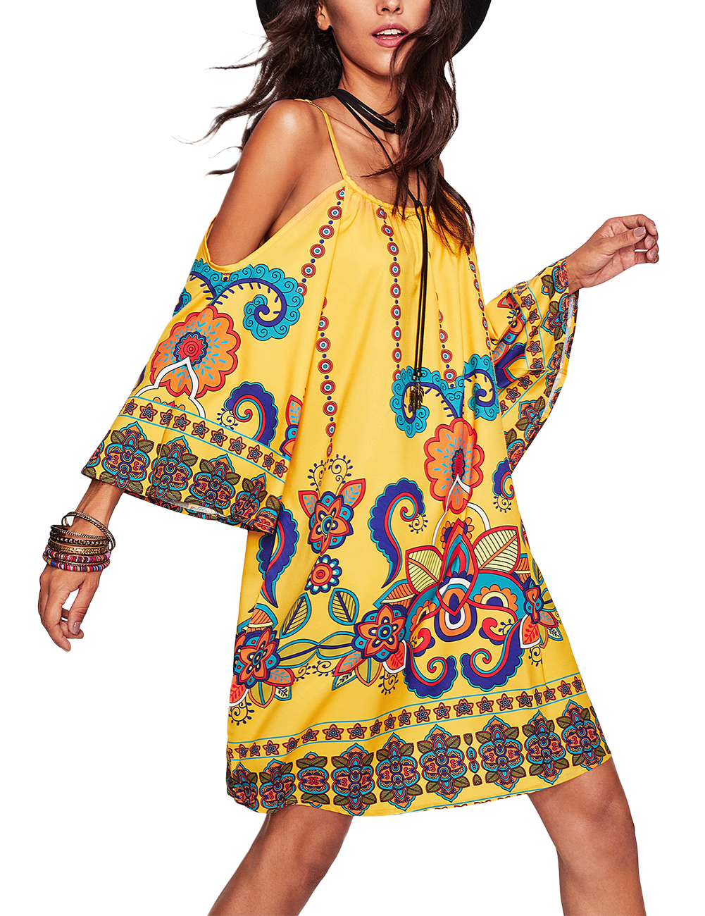 [EU Direct] Women Casual Printing Bohemia Skirt Sexy Half Sleeve Strapless V-neck Sling Dress yellow_XL