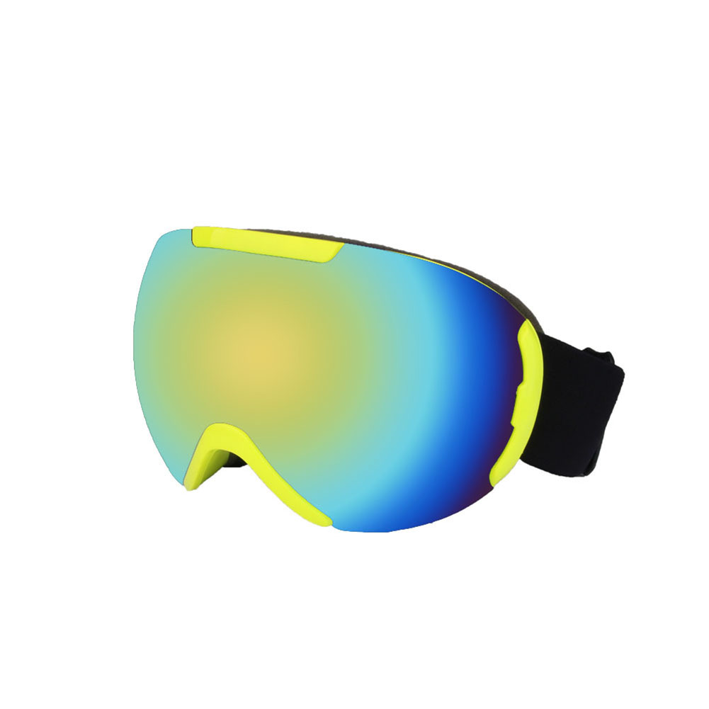 Ski Goggles with Large Spherical Double Layers Antifog Goggles Climbing Goggles for Women and Men Fluorescent yellow-green tablets