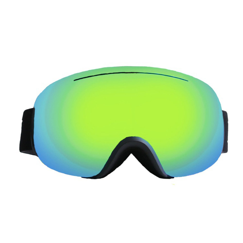 Large Sphere Ski Goggles Double Layers Adult Antifog Windproof Climbing Goggles Black frame green piece
