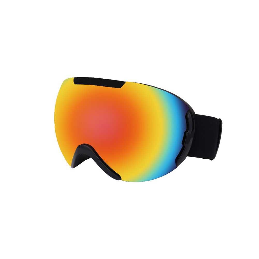 Ski Goggles with Large Spherical Double Layers Antifog Goggles Climbing Goggles for Women and Men Black frame red film
